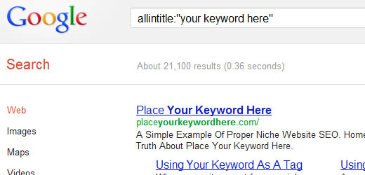 Example of an Allintitle Search on Google.