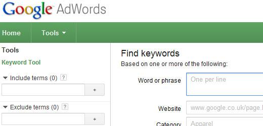 Googles Keyword Tool in Action