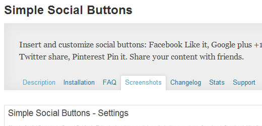 Simple Social Buttons - A WordPress Plugin that allows you to add social buttons easily.